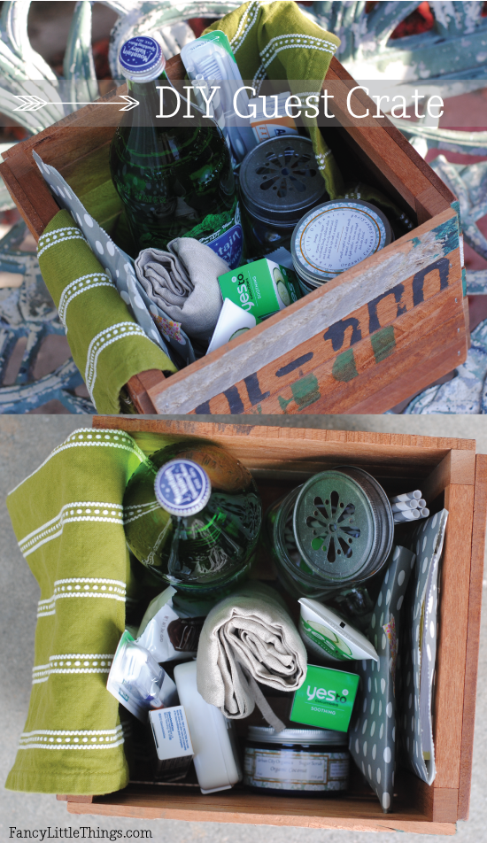 diy guest welcome basket crate