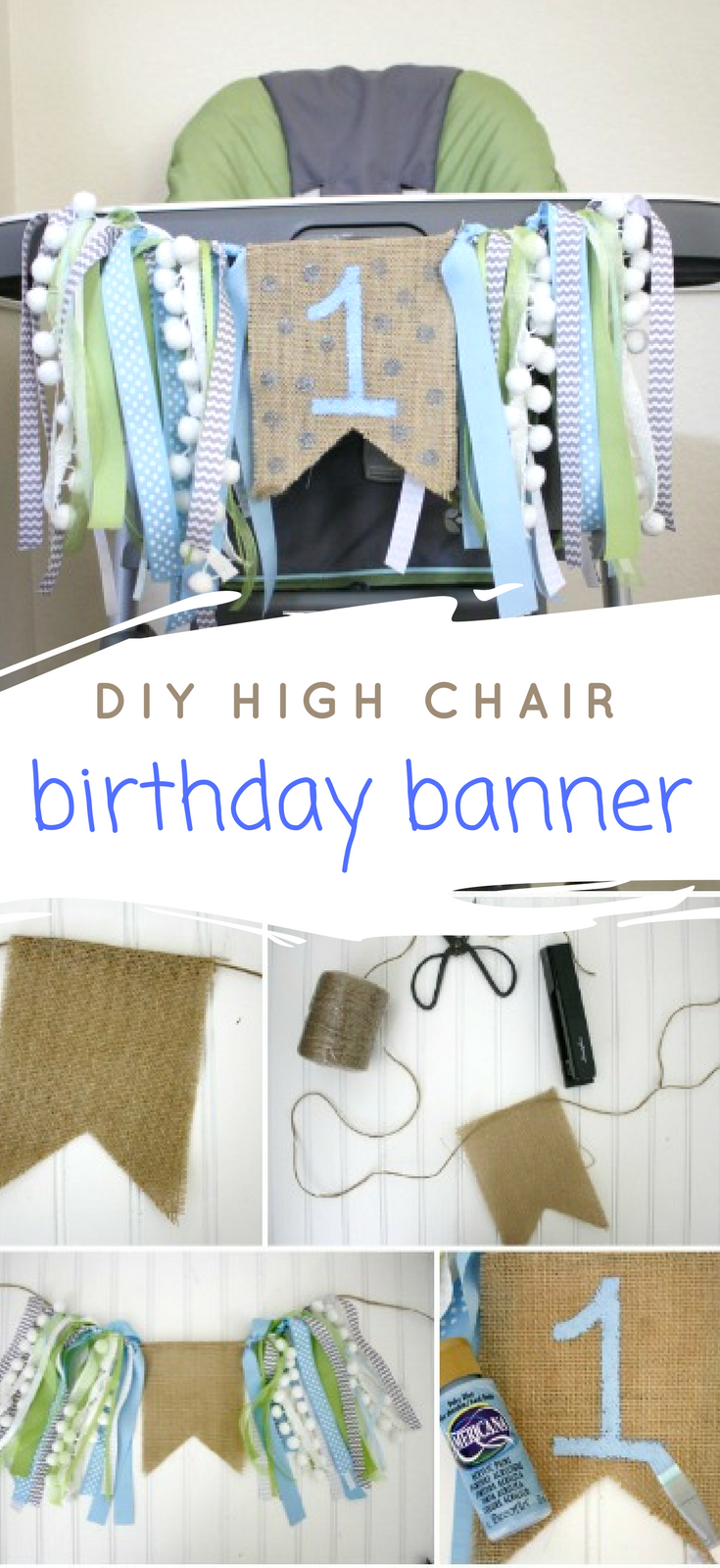 DIY highchair birthday banner boy // Life Anchored