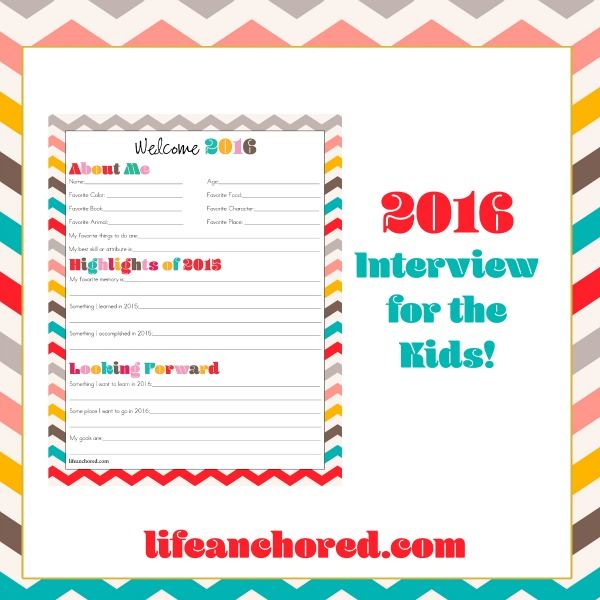 New Year kid interview Printable // Life Anchored