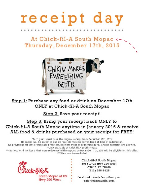 Free Chick-fil-A Day- Austin Texas