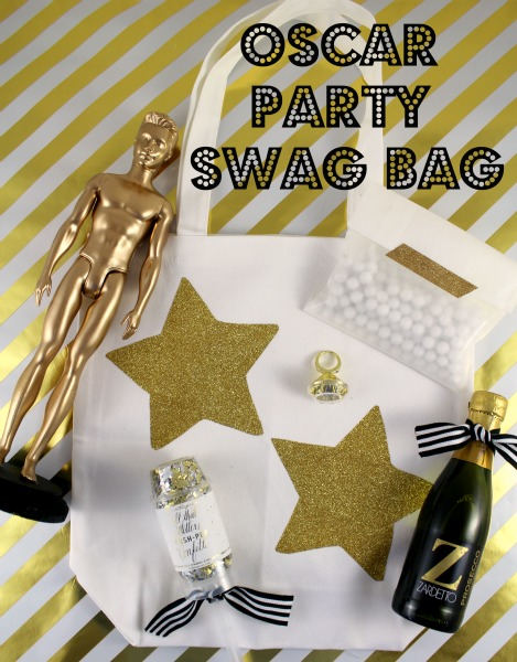 Get inspired by Hollywood swag bags when planning your Oscar party favors. Make your own version using gift bags filled with candy and trinkets. Include some movie-themed items such as .