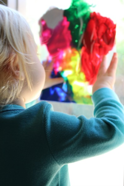 Stained glass finger painting // Life Anchored #SCJMessyMoments #AD