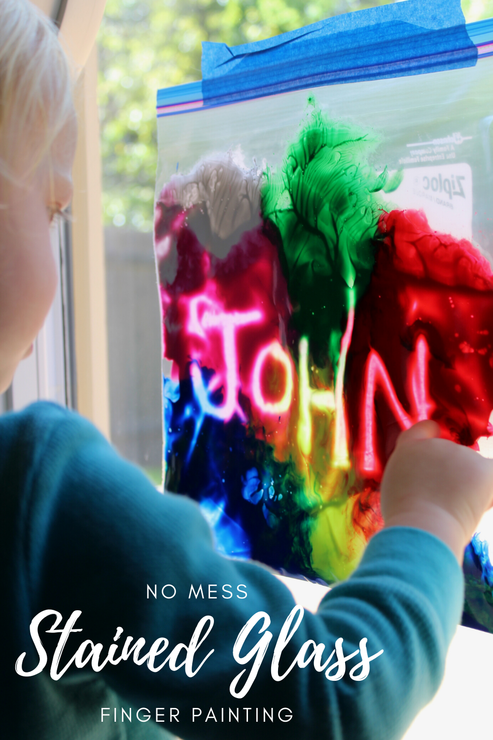 No Mess Stained Glass Finger Painting #DIYcrafting