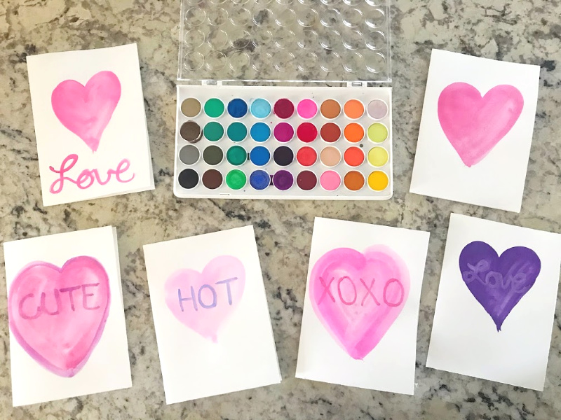 Easy DIY Watercolor valentine cards // Life Anchored